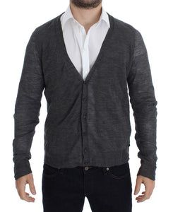 Gray Wool Button Cardigan Sweater