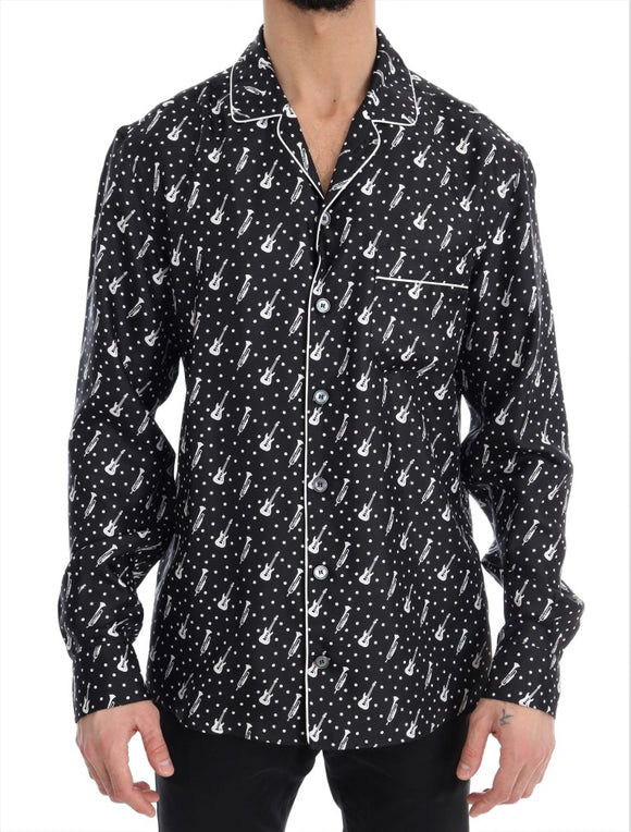 Black Silk White JAZZ Print Casual Shirt