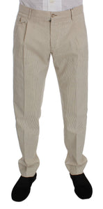 Beige Striped Cotton Chinos Pants