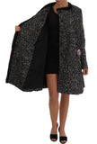 Black Crystal Fur Coat Jacket