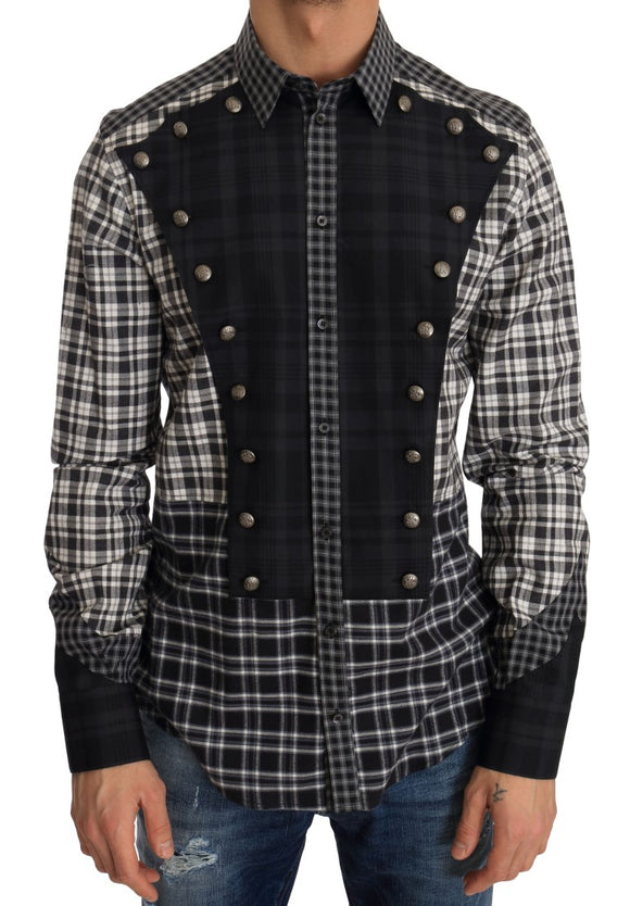 Black Check Casual Cotton Slim Fit Shirt