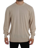 Beige Cashmere Crew-neck Sweater