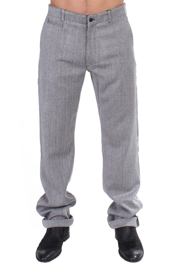 Gray Stretch Regular Straight Fit Pants