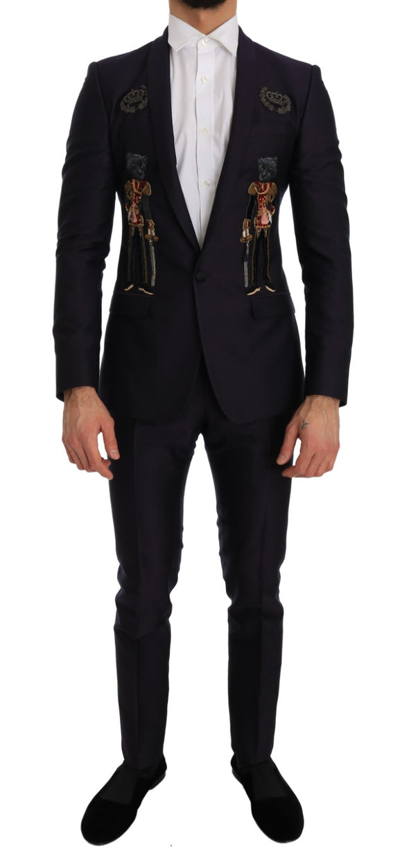Purple Crystal Crown 3 Piece MARTINI Suit