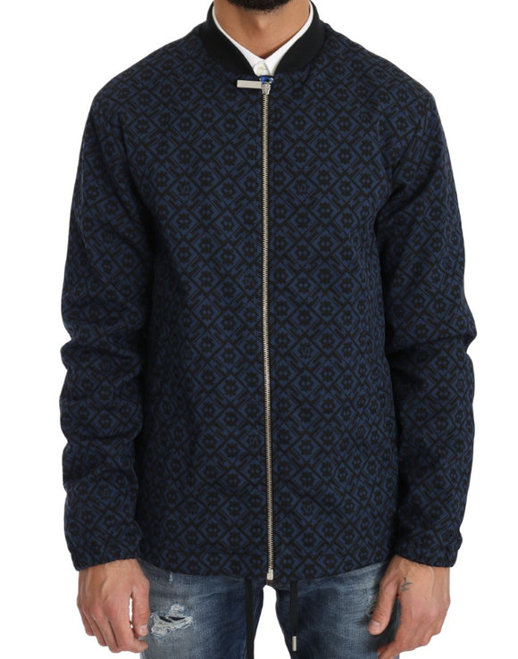 Black Blue Jacquard Print Mens Jacket
