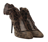 Brown Leopard Tulle Ankle Boots