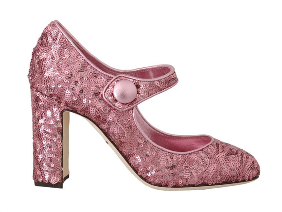 Pink Sequined Mary Janes Shoes