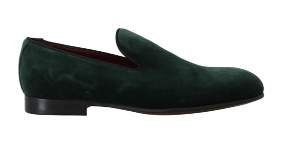 Green Suede Leather Slippers Loafers