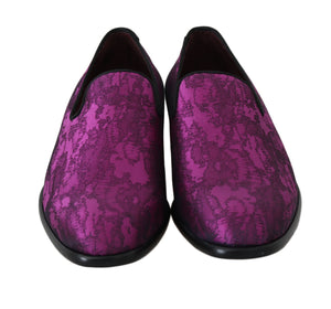 Purple Jacquard Loafers Dress Formal Shoes