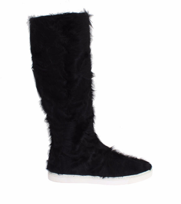 Black Xiangao Lamb Fur Leather Boots