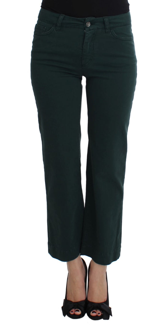 Green Cotton Stretch Straight Fit Jeans