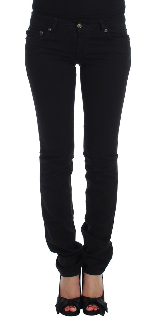 Black Cotton Stretch Slim Skinny Fit Jeans