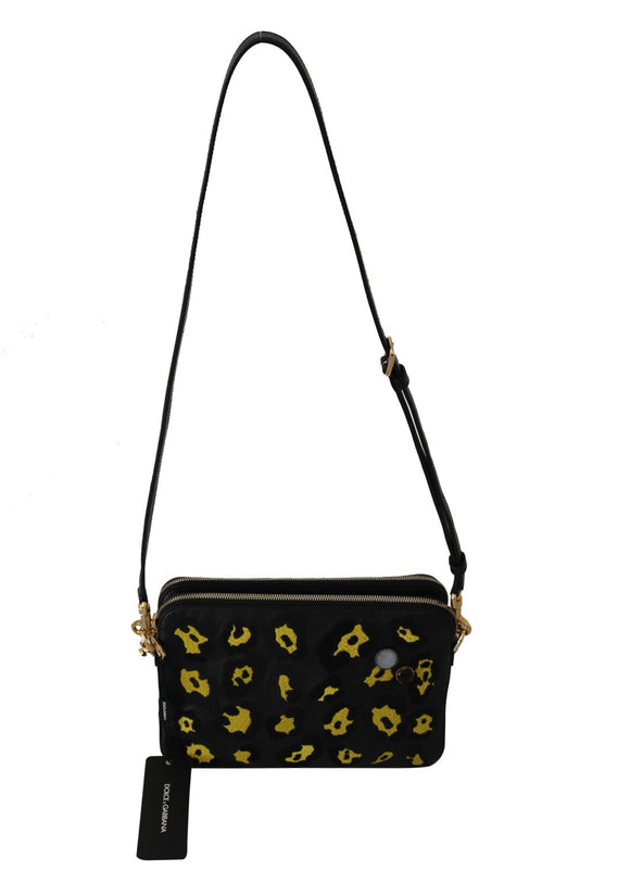 Black yellow Leopard Shoulder Purse