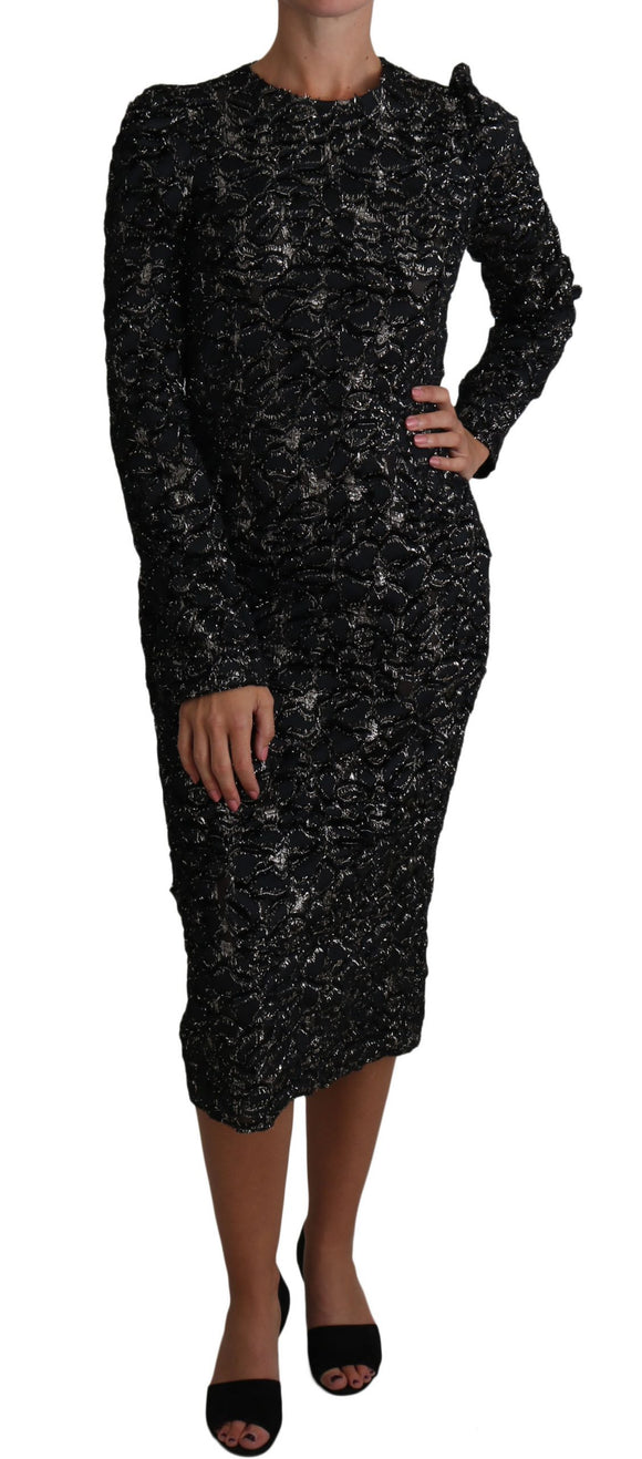 Silver Black Long Sleeved Floral Dress