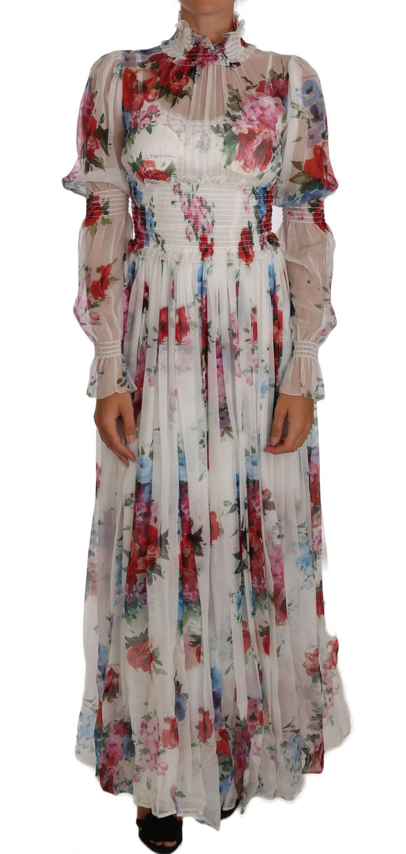White Floral Silk Full Gown Maxi Dress