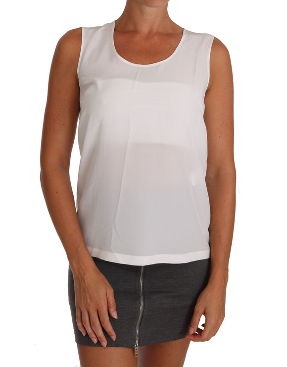 White Silk A-line Sleeveless Blouse T-Shirt Top