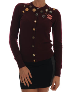 Bordeaux Cashmere Cardigan Crystal Sweater