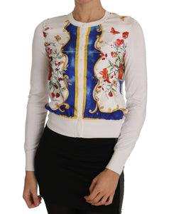 Majolica Cardigan Floral White Silk Sweater