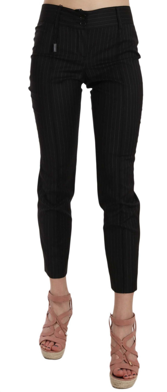 Black Wool Skinny Striped Pinstripe Pants