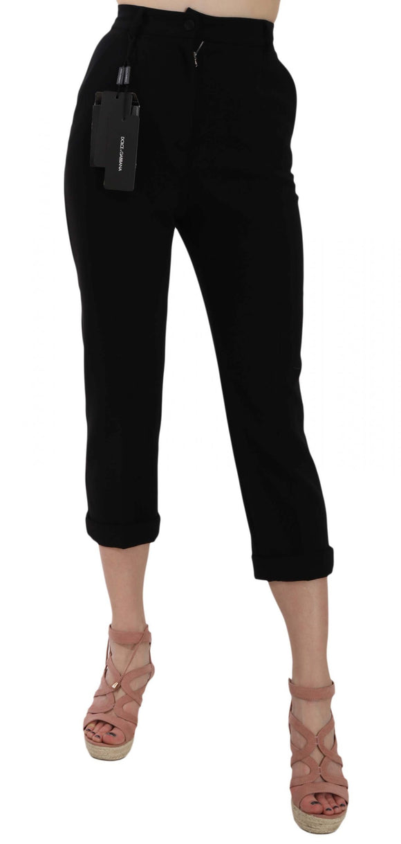 Black Cropped Virgin Wool Capri Cuffed Pants