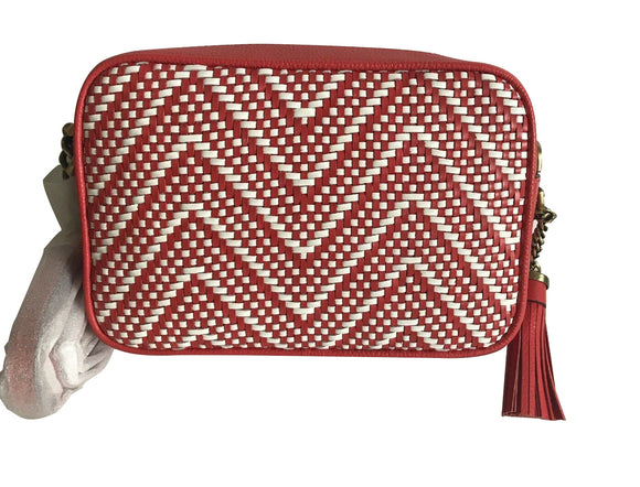 Ginny Camera Chevron Terra Cotta Red Crossbody Bag