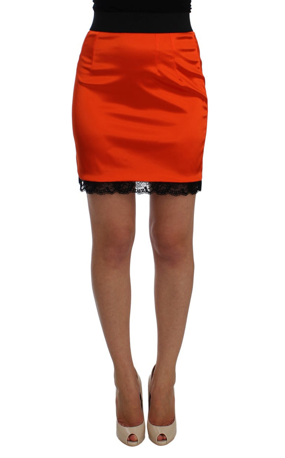 Orange Black Lace Pencil Skirt