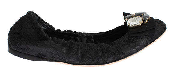 Black Taormina Lace Crystal Ballet Flat Shoes