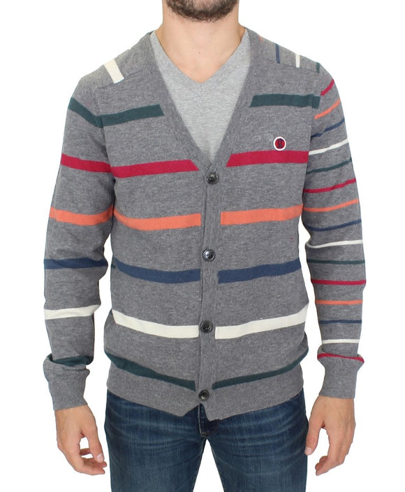 Multicolor stripes wool cardigan sweater