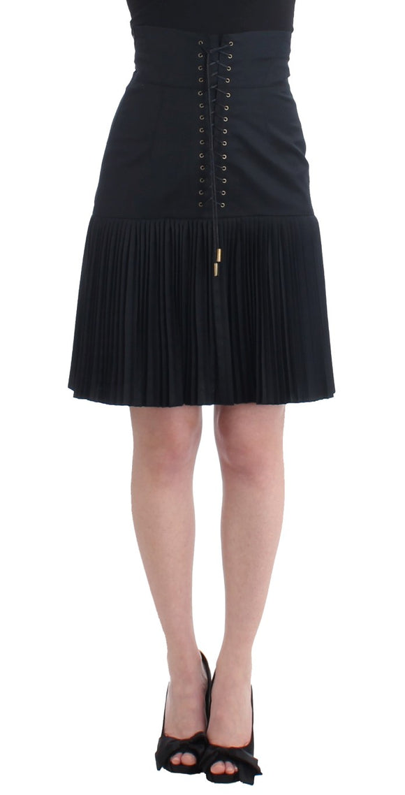 Black Pleated Laced Skirt