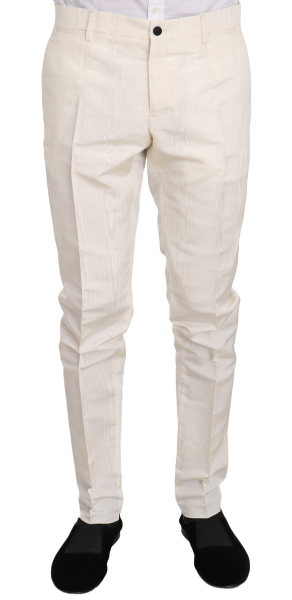 White Patterned Silk Formal Trouser Pants