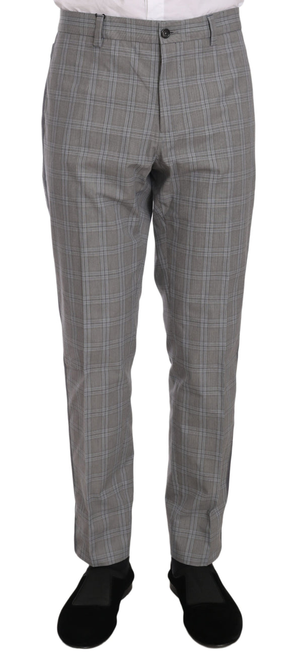 Gray Plaid Cotton Dress Formal  Pants