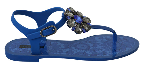 Blue Crystal Sandals Flip Flops Shoes