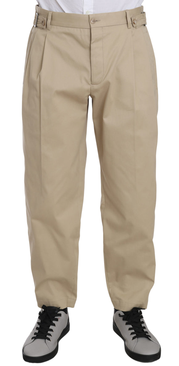 Beige Cotton Stretch Casual Trouser Pants