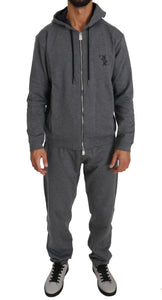 Gray Cotton String Adjusted Hooded Tracksuit