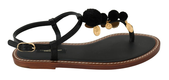 Black Leather Coins Flip Flops Sandals Shoes