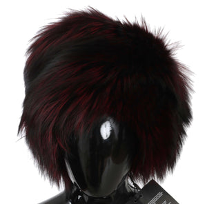 Maroon Black Silver Fox Fur Winter Hat