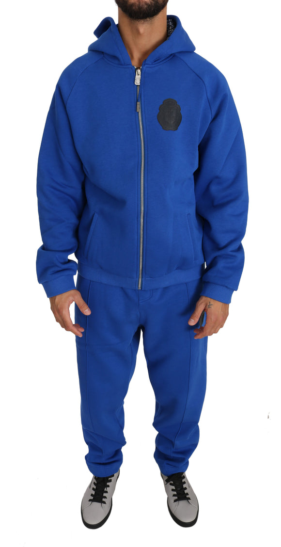 Blue Cotton Hooded Sweatsuit