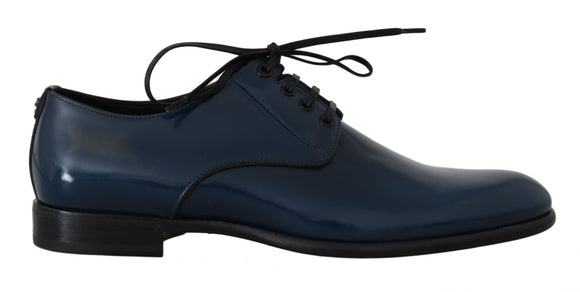 Blue Formal Leather Laceups Shoes