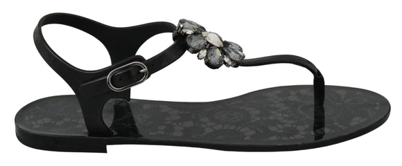 Black Crystal Sandals Flip Flops Shoes