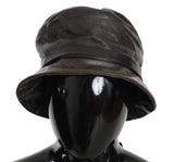 Brown Lamb Leather Bucket Hat