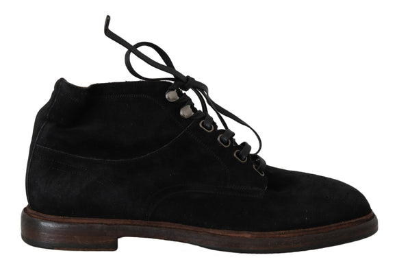 Black Suede Leather Laceup Boots