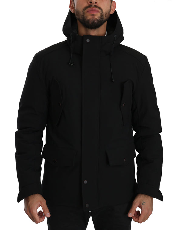 Black Hooded Quilted Coat Polyester Jacket