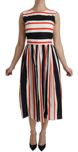 Multicolor Stripes A-Line Pleated Midi Dress