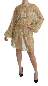 Gold Lace See Through A-Line Knee Length Dress