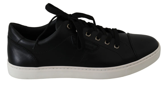 Black Leather Mens Casual Sneakers Shoes