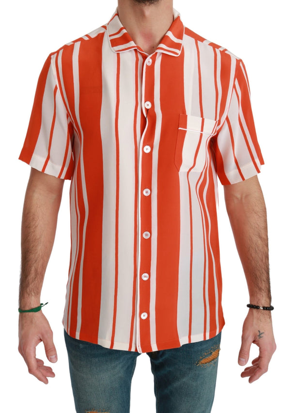 Orange Silk Striped Short Sleeve White Shirt