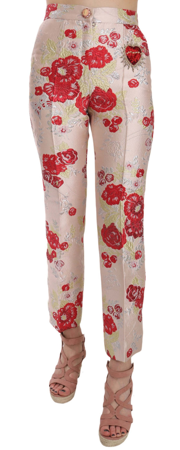 Floral Cropped Brocade Trousers Pink Pants