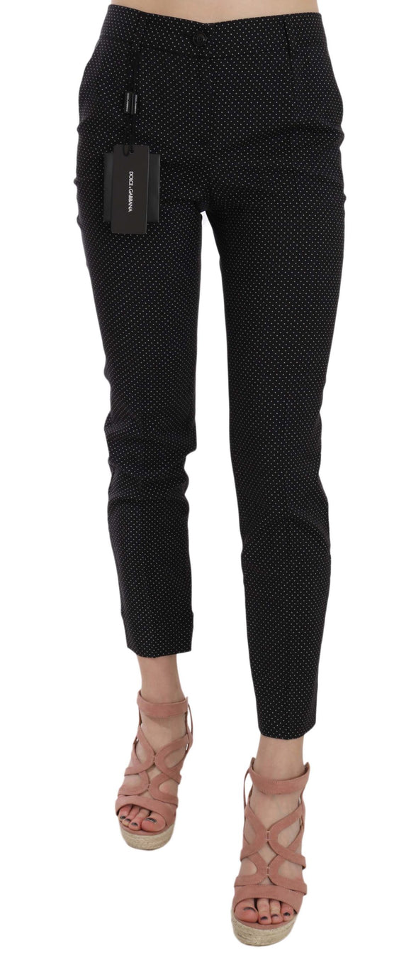 Polka Dot Slim Capri Trousers Tapered Pants
