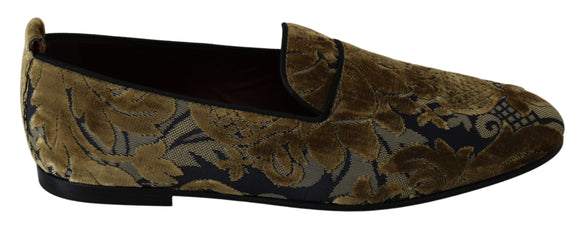 Gold Velvet Pope Jacquard Loafers Shoes