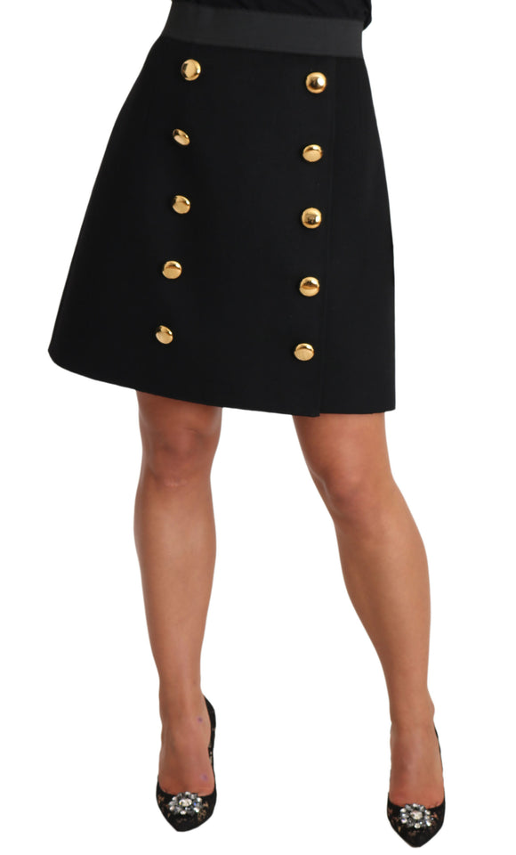 Black Buttoned A-Line Above Knee Skirt